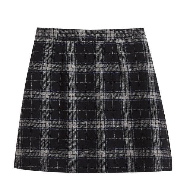 Women's Casual Skirts Japanese Kawaii Ulzzang Vintage Plaid High Waist A-line Skirt Female Korean Harajuku Clothing For Women 5