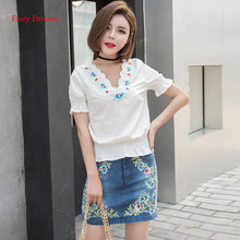 Fairy Dreams 2 Piece Set Women White Shirt Top And Bule Denim Skirt Flowers Embroidery 2017 Spring Summer Suit Fashion Clothing