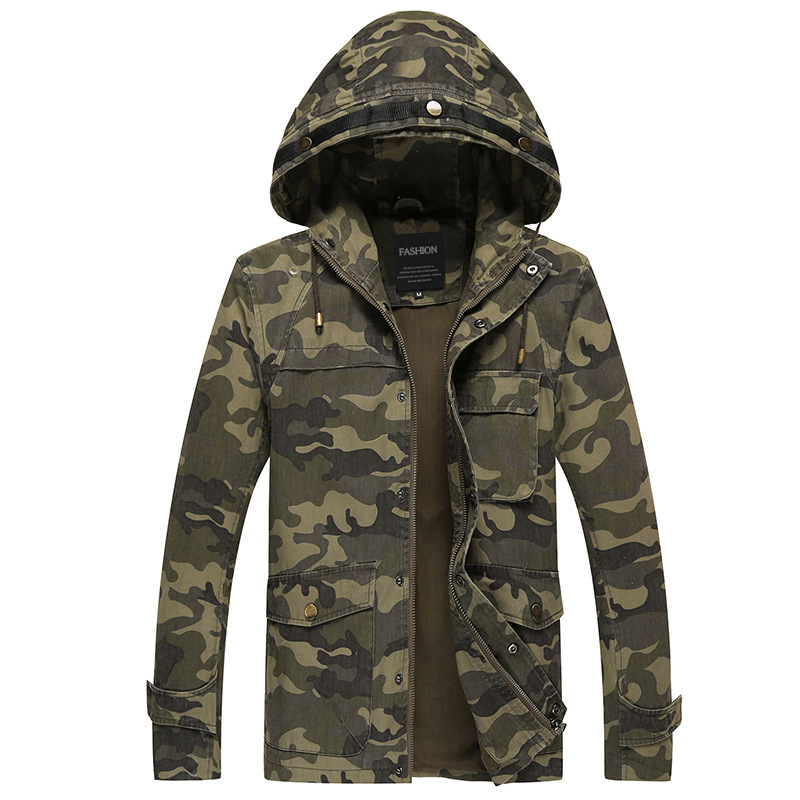 Male big Size Autumn Casual Men Military hooded Army Tactical Baseball outwear WindProof windbreaker Camouflage color jacket