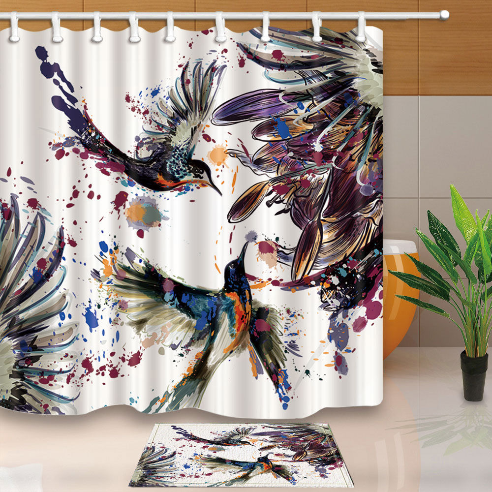 Lily Flowers And Birds Bathroom Shower Curtain Sets Waterproof Fabric  With12 Hooks Wts001