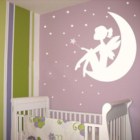 Free Shipping New Removable Flower Fairy Wall Decals For Home Rooms DIY Decorative Wall Stickers