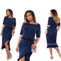 Women Large Size Dress 2017 New Female 6XL Naby Split Women Clothing Pleated Tops Big Size