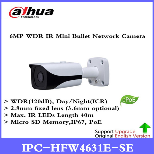 DH Free Shipping Surveillance CCTV Camera 6MP WDR IR Mini Bullet Network Camera IP67 With POE Without Logo IPC-HFW4631E-SE цена 2017