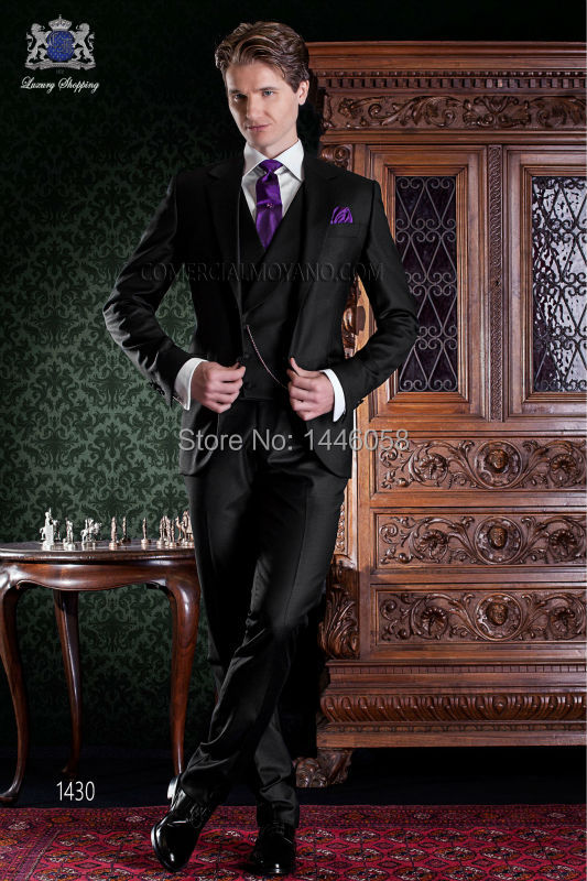 Custom Made Slim Fit Business Men Suits Black Groom Tuxedos Wedding Suits For Men 2017 Costume Homme (Jacket+Pant+Vest+Tie)