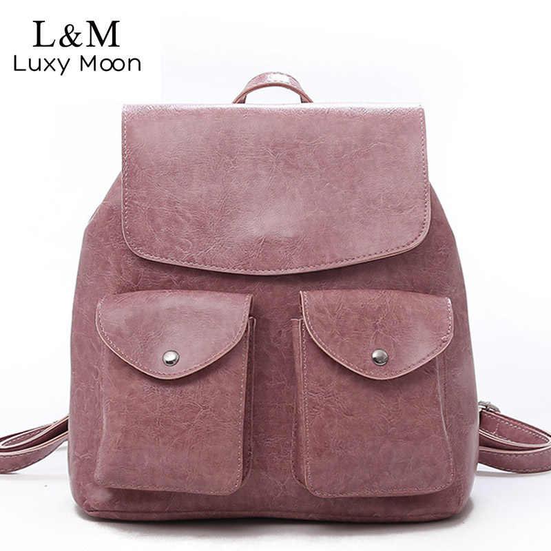 da0a0ec85a65 Vintage Women Large Leather Backpack Mochilas Mujer For Female 2018 Teenage  Girls School Backpacks Students Shoulder