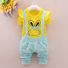 Baby Girl Clothing Set 2016 Spring Toddler Rabbit Bow Printing Autumn Fashion Kids Clothes T-Shirt+Suspender Pants Clothing Suit