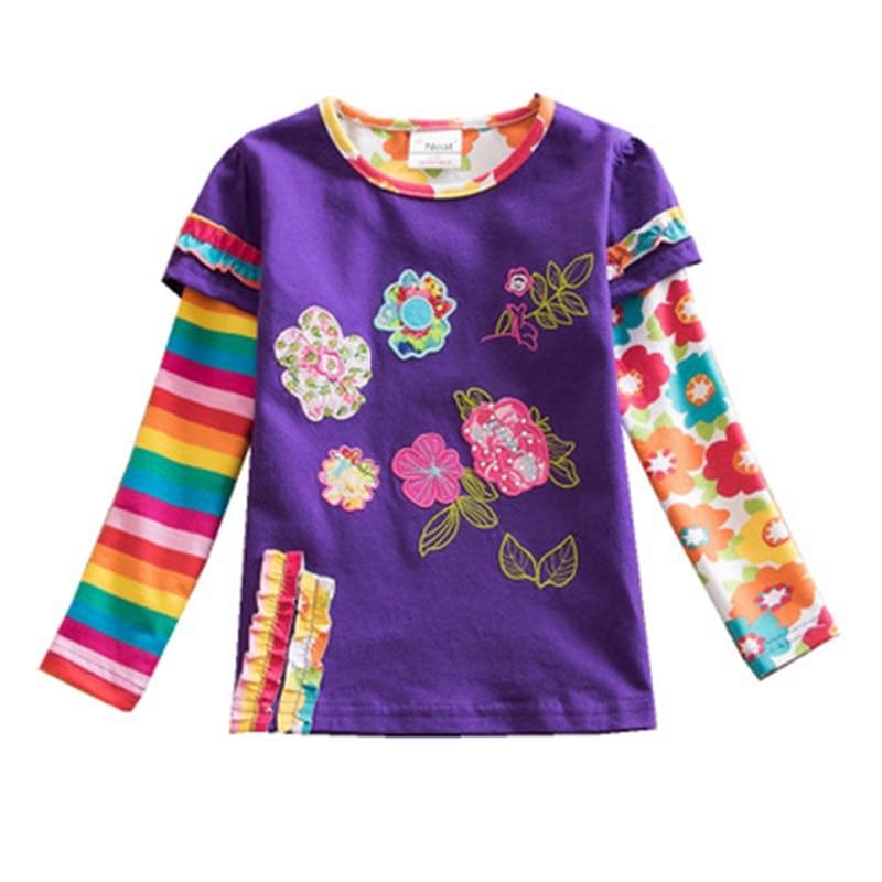 Qız paltarları NEAT o-boyunlu pambıq uşaq paltarları cizgi film heyvan nümunələri zolaqlı qız t-shirt qız uzun qol köynək L326