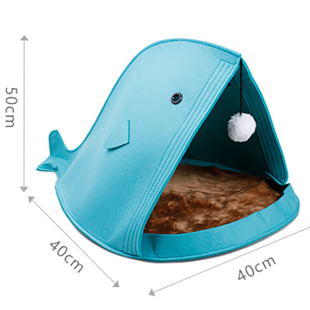 Newest 2 color Pet Dog Dual Use Convenient Portable Shark Shape Cute Dog Beds Warm Soft Foldable Dog House F901 2