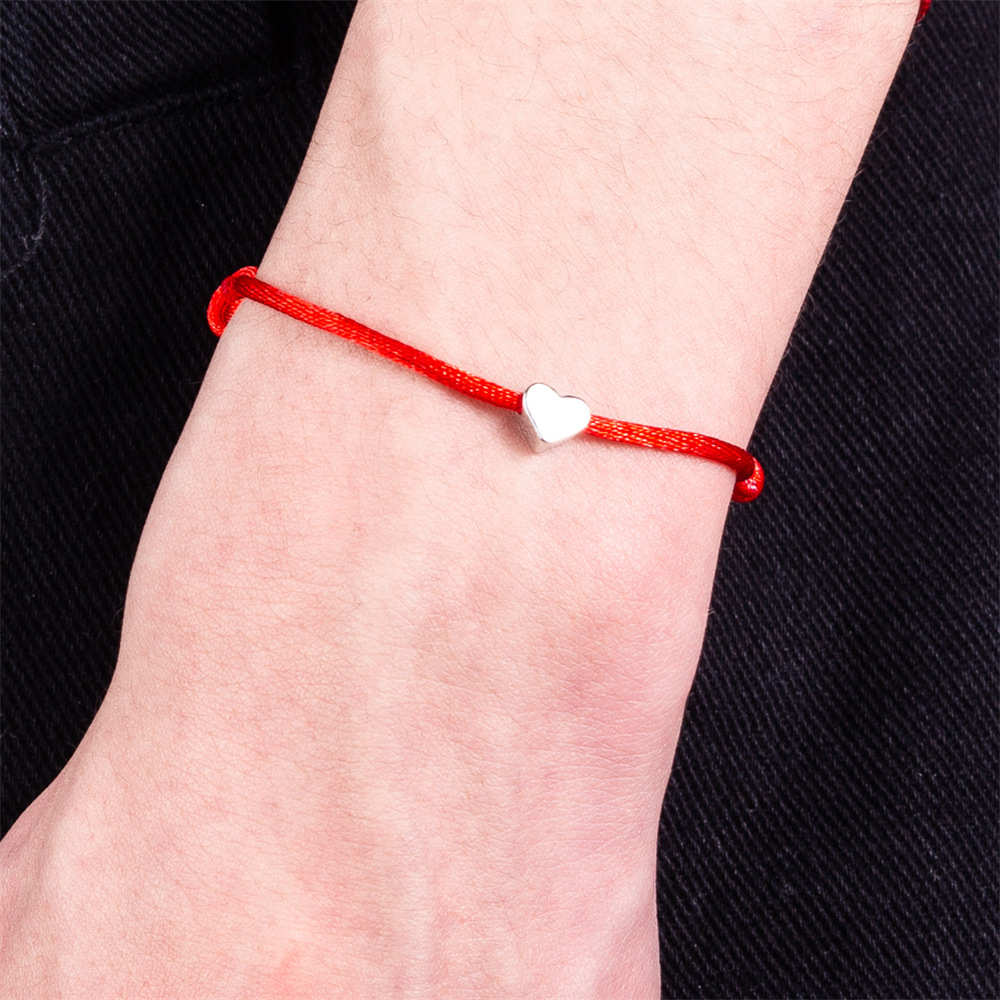 LINDAJOUX Simple Silver Color Heart Charm Thread String Bracelet For Women Men Handmade Red Thread Rope Jewelry