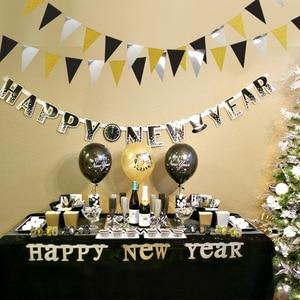 Image 2 - Праздничные золотые, серебряные, Треугольные флаги, подвесные украшения, блестящие, золотые, треугольные, для детских дней рождения, украшения для стен с цветами