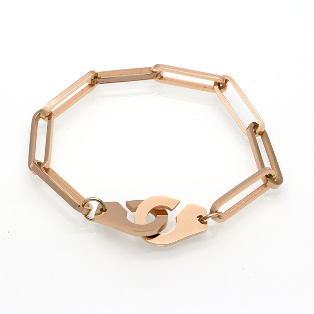 18 21cm Men Handcuff Bracelet Stainless Steel Cuff Bracelets Bangle Femme Chain Gold Colour
