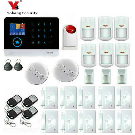 YobangSecurity WiFi GSM GPRS Home Burglar Fire Alarm System Kit Wireless Siren IOS Android APP With Pet Immune Detector Friendly yobangsecurity touch keypad wifi gsm gprs rfid alarm home burglar security alarm system android ios app control wireless siren