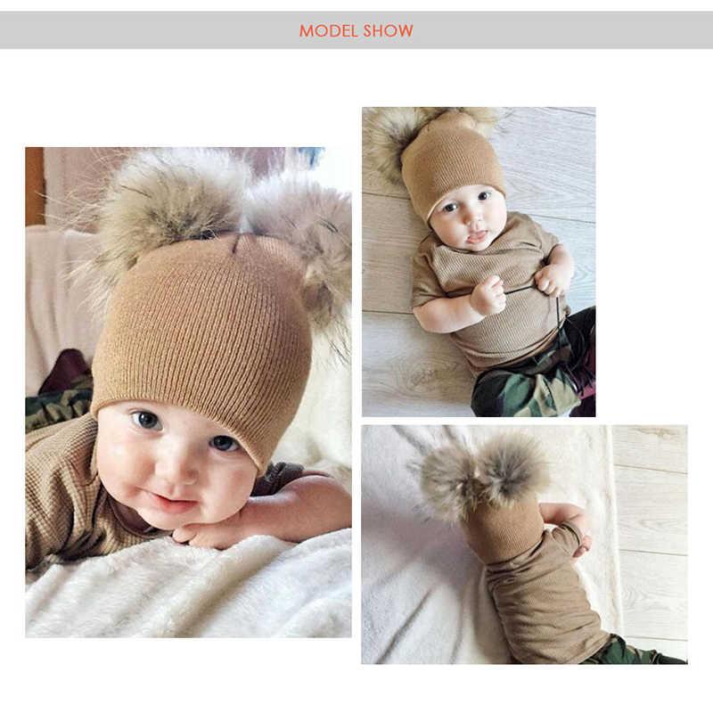 MOLIXINYU 子供帽子幼児キッズベビー暖かい冬のウールの帽子ニットビーニー毛皮ポンポン帽子ベビーボーイズガールズキャップ 1-3Y ドロップ無料