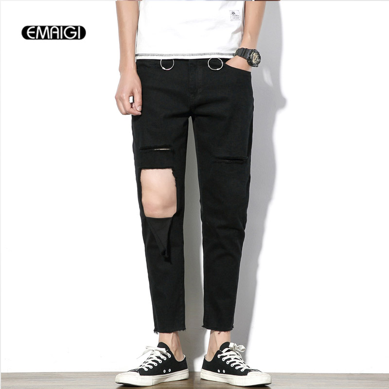 Hole Iron Ring Jeans Men Fashion Casual Elastic Cotton Denim Pant Male Black Jean Trousers ring denim jeans