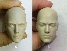 1/6 escala macho cabeça esculpir monge budista sem pintura branca cabeça fechar os olhos/olhos abertos modelo para 12 polegadas figura de ação