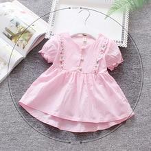 0-3 year Girls Dresses Summer children's costumes Embroidery Flower Cotton Dress Newborn Baby Princess Birthday Dress For Girls