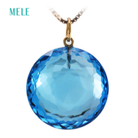 Natural deep blue topaz pendant for women,big round shape 18K gold 17mm*17mm fashion and trendy jewelry,best gift for friends