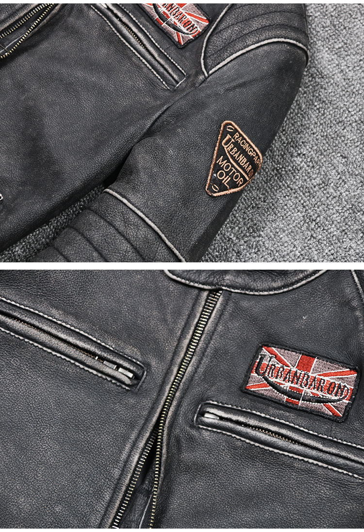 Free shipping plus motor Brand style Vintage men's quality genuine leather Jackets slim 100% natural cowhide jacket.leather coat
