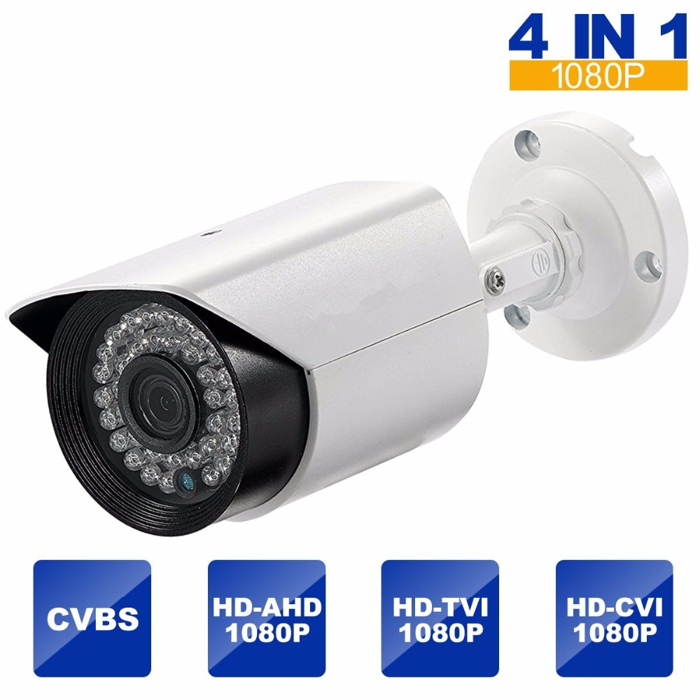 HiSecu 2.0MP HD 1080P 4 IN 1 Bullet Security Camera Outdoor HD TVI, HD CVI, AHD, CVBS Security Cameras Surveillance 4 in 1 ir high speed dome camera ahd tvi cvi cvbs 1080p output ir night vision 150m ptz dome camera with wiper