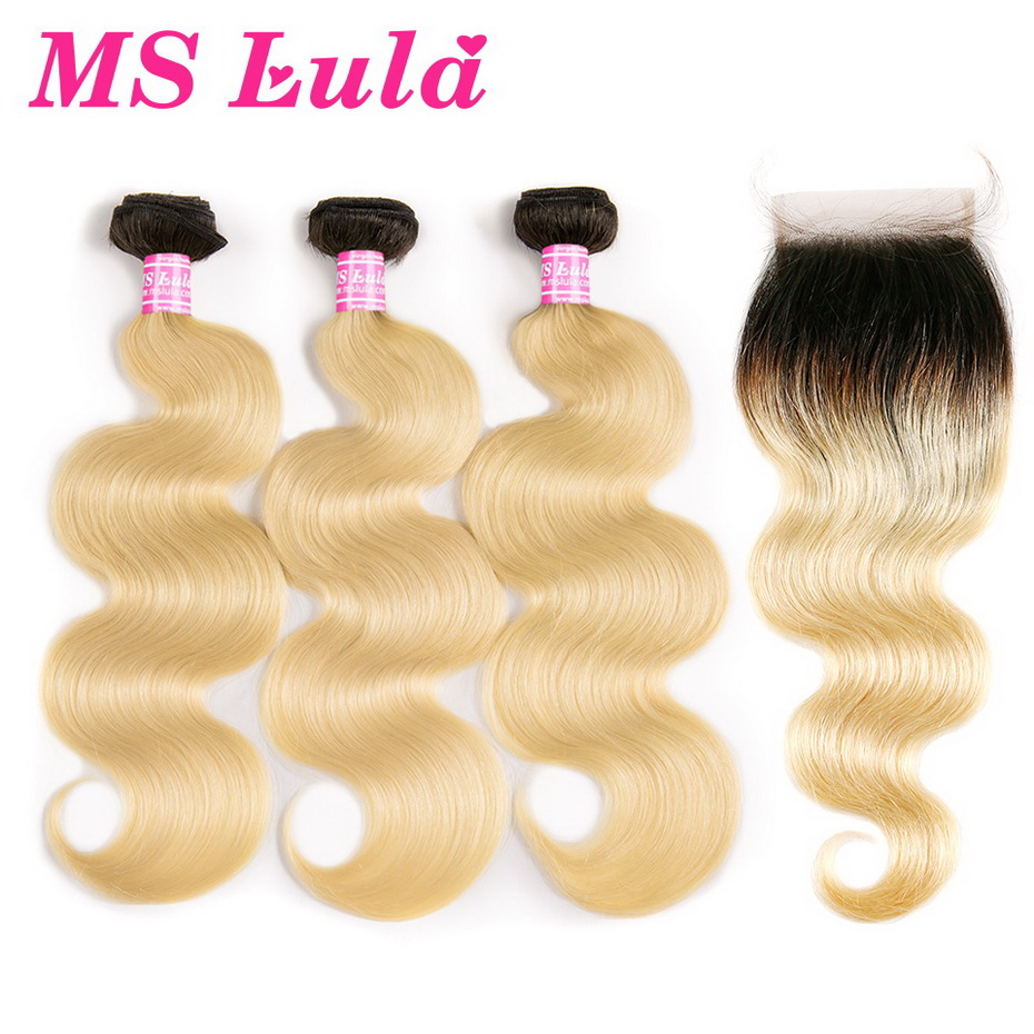 MS Lula Hair Ombre Brazilian 1b/613 Blonde Dark Roots Body Wave Weave 3 Bundles With 4X4 Closure 100% Human Remy Hair Extensions