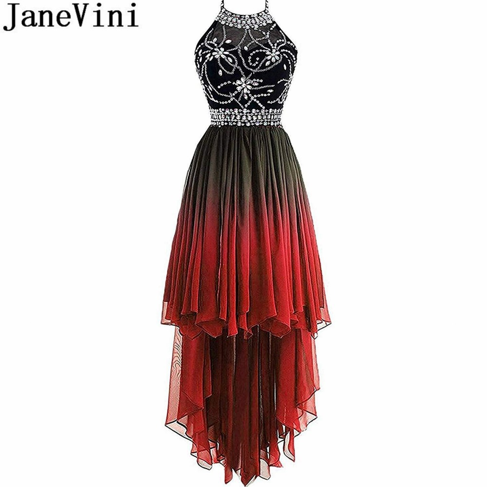 JaneVini Ombre Gradient Prom Dresses With Sparkly Crystals 2019 High Low Beaded Black Red Gala Dress