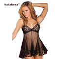 Kakaforsa Women Sexy Lingerie High Quality Hot Erotic See Through Nightgown Polyester Mesh Solid Designer Underwear Nightwear