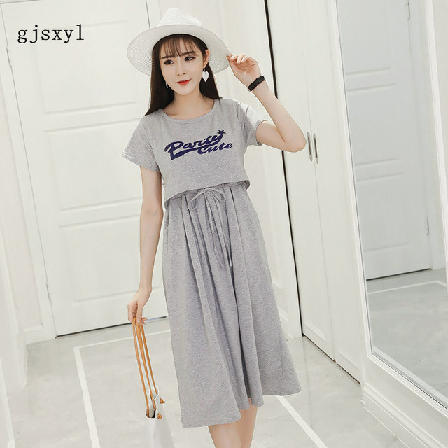Loose and comfortable summer new maternity plus size pregnant women skirts  fashion letters printing pregnant women lactation dre dd38ccdc061a