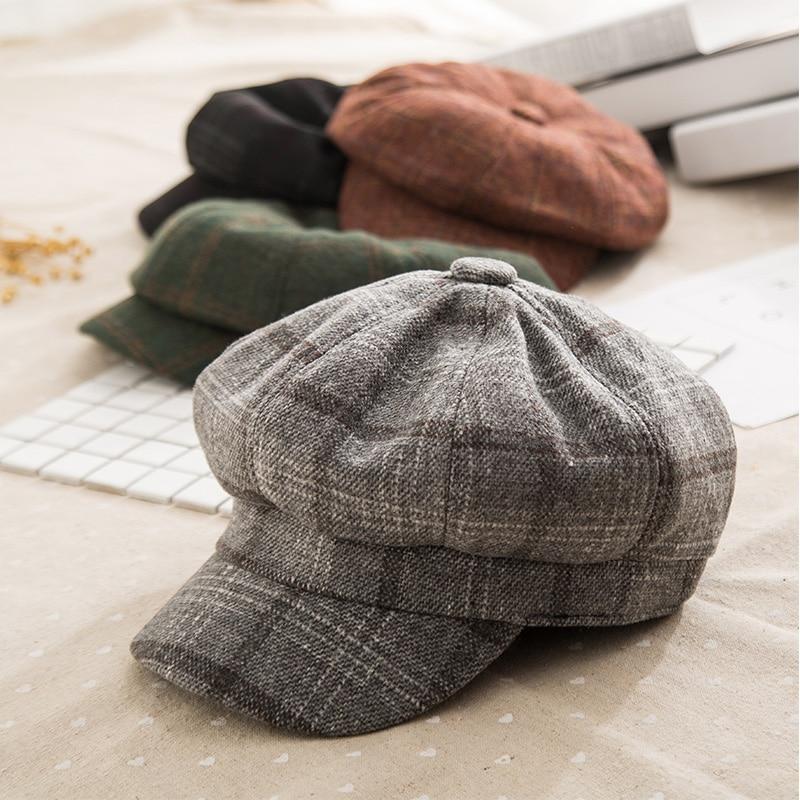 2019 New Plaid Octagonal Hat Women Autumn Winter Vintage Beret Hat For Women Cotton Casual Newsboy Hat Girl Female Octagonal Cap