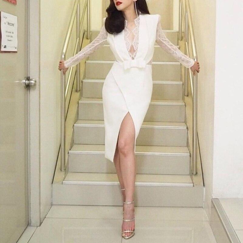 En Hiver Mini Blanc Maille Qualité Haute Robe Arc Couleur Automne Dentelle Manches Plein De 2018 Grand 4YAxHnwqa