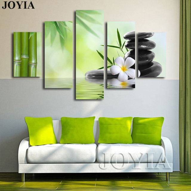 Garden Kitchen Boudha: 5 Piece Canvas Wall Art Green Bamboo Painting SPA Stones