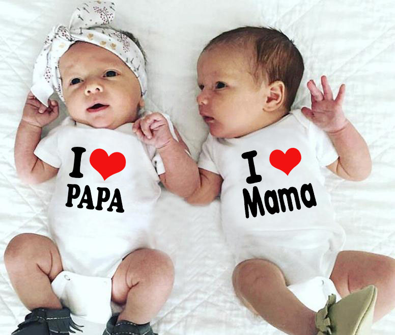 I Love Mama And I Love Papa Baby Bodysuit Twins Onesie Cotton Soft Toddler Infant Babe Wear White Clothing Babe Summer Wear