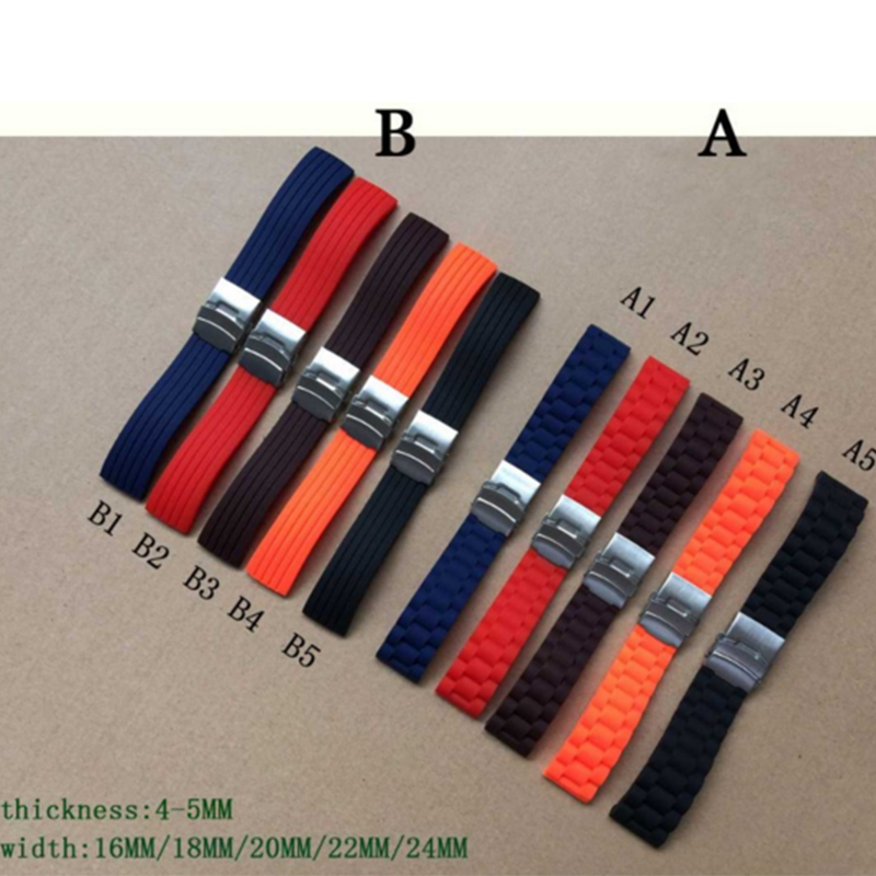 NEW style 16mm,18mm, 20mm, 22mm, 24mm 5 colors New Silicone Rubber Watch Strap Band Deployment Buckle Waterproof BLack Watchband silicone rubber watchband 20mm men women black green 7 colors strap watch band waterproof for wristwatches 16 18 20 22 24mm
