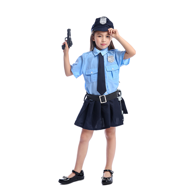 Cute Girls Halloween Tiny Cop Police Officer Playtime Cosplay Costume Kids Blue Coolest Police Uniform Carnaval Cosplay Costume