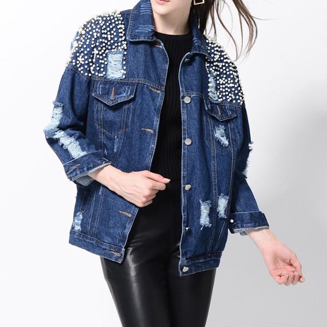 2018 nueva primavera mujeres Denim chaqueta novios estilo pesado rebordear  perlas rasgado agujero lavado Vaqueros básica 582719648bb3