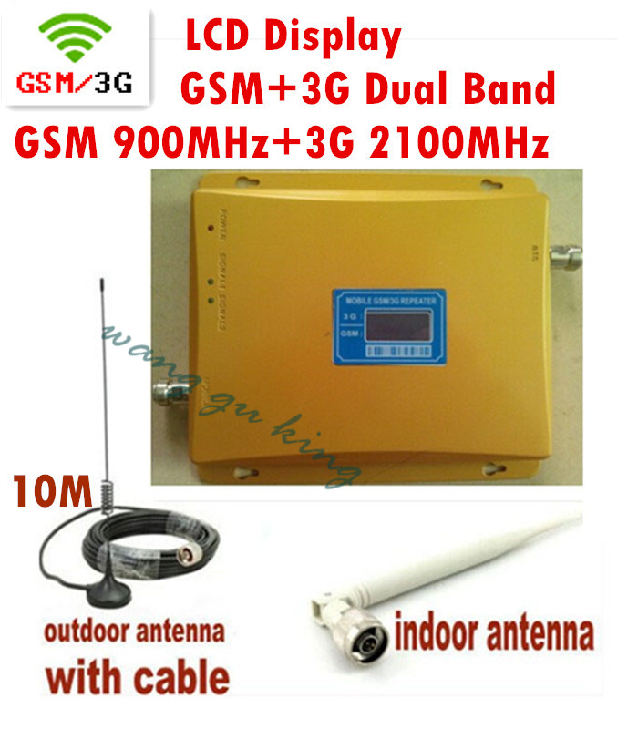 LCD Display !!! Mobile Phone Signal Booster GSM 900 Signal Repeater W-CDMA 3G 2100 Cell Phone Amplifier With Cable Antenna 1 set