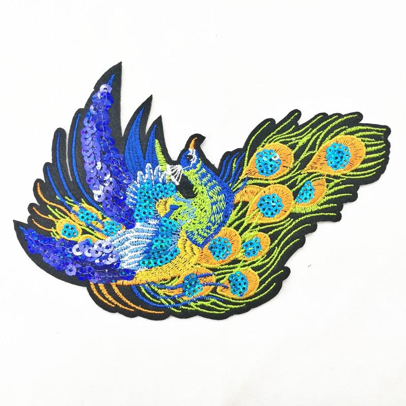 2 sztuk Peacock Sequined Łaty do Odzieży Szycia na phoenix odzieży - Sztuka, rękodzieło i szycie - Zdjęcie 3