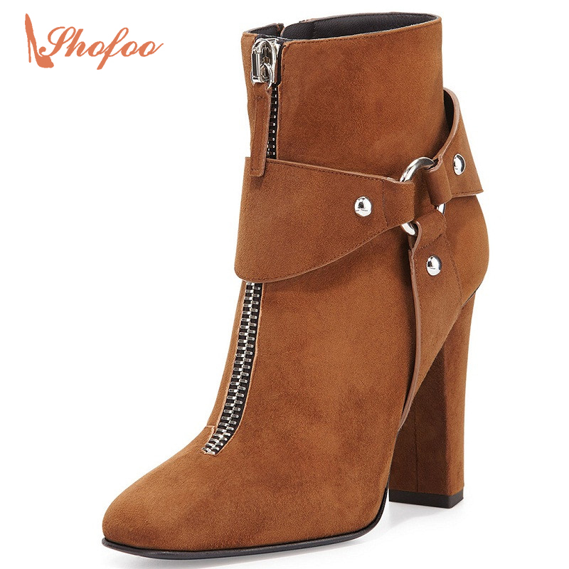 Shofoo Women Pointed Toe Ankle Boots Orange Genuine Leather Solid Heels Shoes For Woman Spring&Autumn Dress&Party,Plus Size4-16  shofoo newest women shoes med heels pointed toe pumps for woman dress