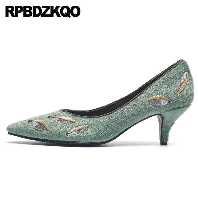 3b1225675fe2 Embroidery Rivet Handmade Embroidered Stud Medium Heels Pointed Toe Pumps  High Mint Green Leaf Folk Shoes