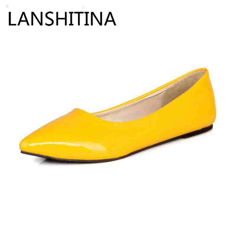 Patent leather shoes women big size 34-47 boat shoes Solid Slip-On Pointed Toe women flats shoes Spring/Autumn Casual Lazy shoes