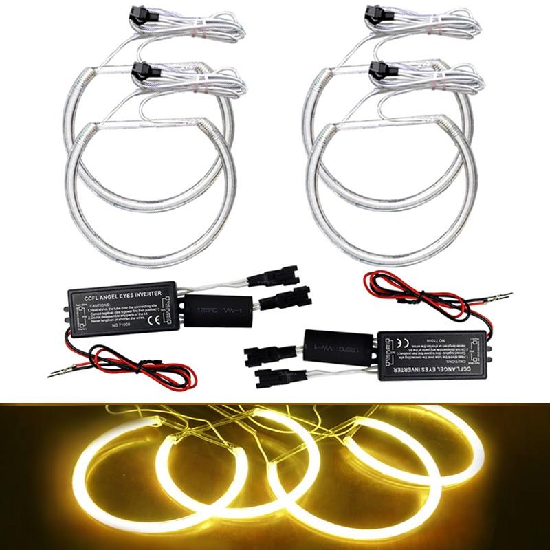 4Pcsset Yellow Car Ccfl Halo Rings Angel Eyes Headlights-1402
