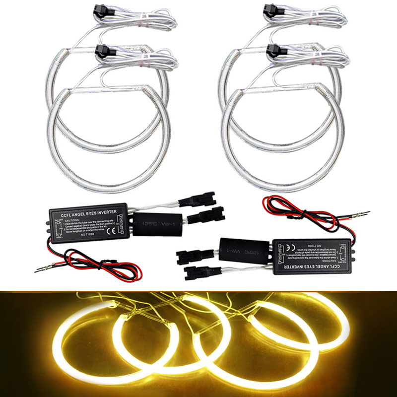 FEELDO 4Pcs/set Yellow Car CCFL Halo Rings Angel Eyes Headlights for BMW E46,E36,E39,E318A04 Light Kits #FD-4170