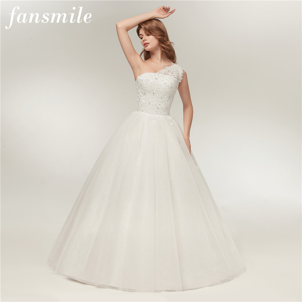 Fansmile Real Photo One Shoulder Ball Wedding Dress 2017 Vintage Lace Bridal Plus Size Wedding Gowns Vestidos de Noiva FSM-128F