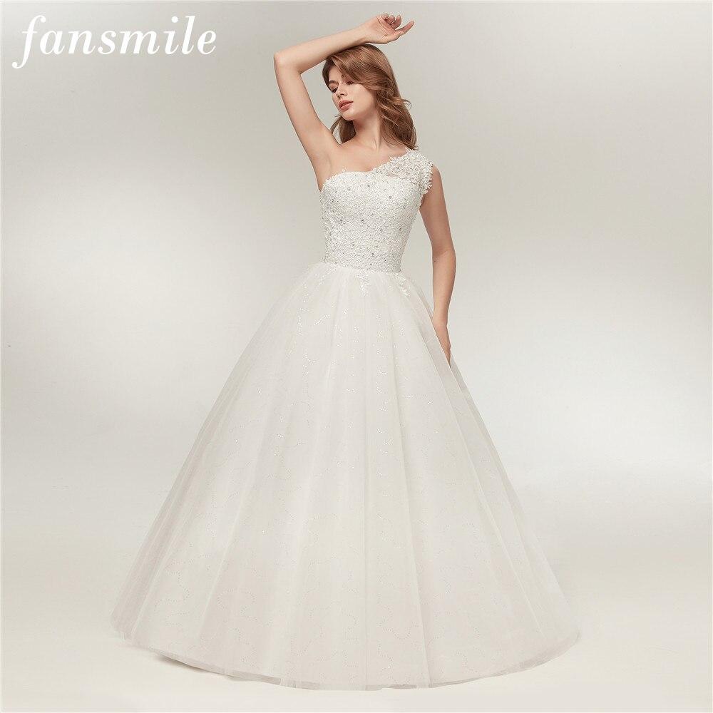 Fansmile Real Photo One Shoulder Ball Wedding Dress 2020 Vintage Lace Bridal Plus Size Wedding Gowns Vestidos De Noiva FSM-128F