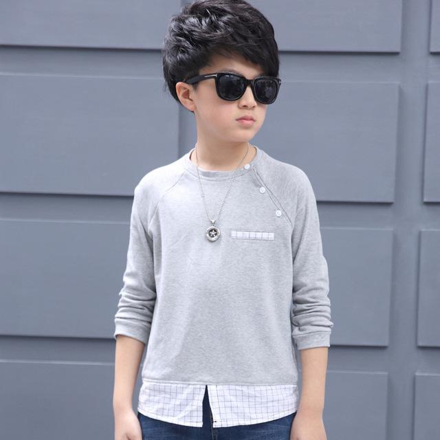 Casual preto cinza patchwork crianças cobre t meninos de manga longa t camisas dos miúdos 2017 primavera outono meninos adolescentes t camisa roupas
