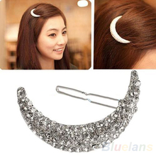 Hot New Crystal Moon Rhinestone Hair Clip Bang Clip Headdress Hairpin Clamps  77HJ