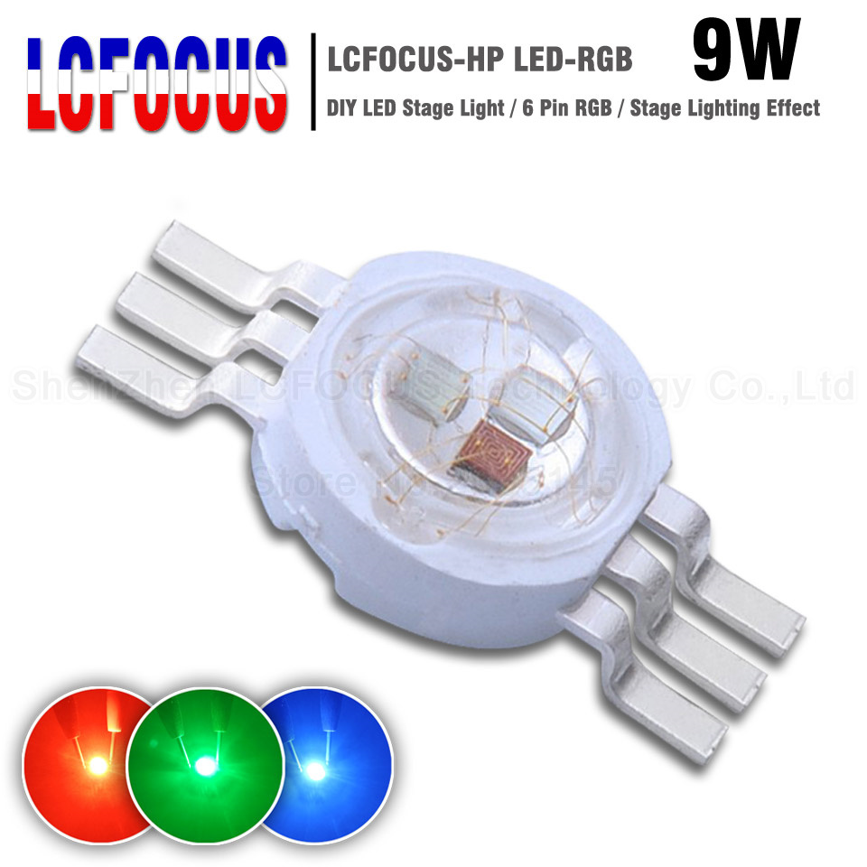 5pc 10W RGB red green blue LED Bead 10Watt Lamp Light High Power Chip 6PIN Round