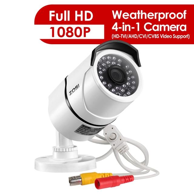 كاميرا ZOSI 2.0 MP 1080P 4 in1 TVI/CVI/AHD/CVBS كاميرا مراقبة ليلية ونهارية لمسافة 100 قدم بالأشعة تحت الحمراء ، هيكل معدني من الألمونيوم