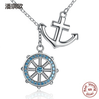 New 100 925 Sterling Silver Swarovski Blue Crystal Anchor Rudder Charm Pendants Necklaces Compatible With Pan
