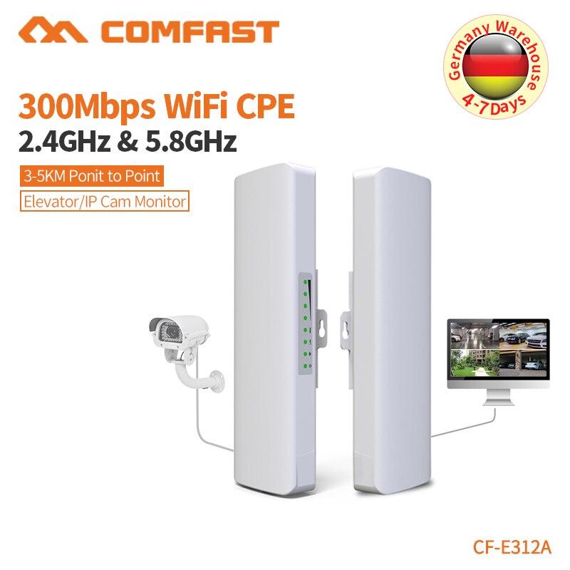 COMFAST Sans Fil pont en plein air 300 Mbps routeur 5.8g booster de signal wifi Amplificateur long range Antenne wi fi point d'accès CF-E312A