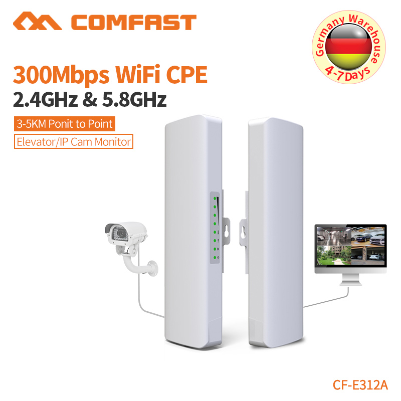 COMFAST Wireless Bridge Outdoor 300Mbps Router 5.8g WIFI Signal Booster Amplifier Long Range Antenna Wi Fi Access Point CF-E312A
